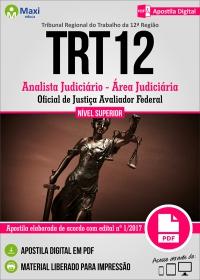 Analista Judiciário - Área Jud. - Of. de Justiça Avaliador - TRT 12ª Região - SC
