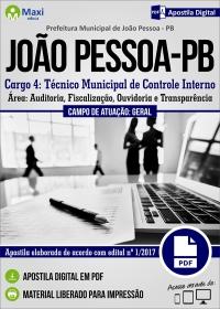 Cargo 4: Técnico Municipal de Controle Interno - Prefeitura de João Pessoa - PB