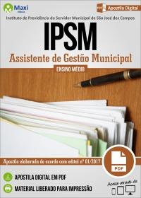 Assistente de Gestão Municipal - IPSM - São José dos Campos - SP