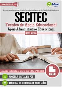 Técnico de Apoio Educacional - Apoio Admin. Educacional - SECITEC - MT