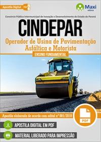 Operador de Usina de Pavimentação Asfáltica e Motorista - CINDEPAR