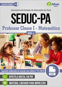 Professor Classe I - Matemática - Nível A - SEDUC-PA