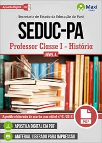 Professor Classe I - História - Nível A - SEDUC-PA