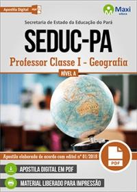Professor Classe I - Geografia - Nível A - SEDUC-PA