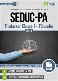 Professor Classe I - Filosofia - Nível A - SEDUC-PA