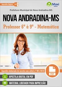 Professor 6ª à 9ª - Matemática - Prefeitura de Nova Andradina - MS
