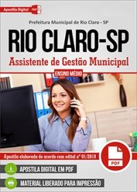 Assistente de Gestão Municipal - Prefeitura de Rio Claro - SP