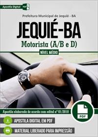 Motorista (A/B e D) - Prefeitura de Jequié - BA
