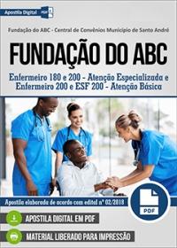 Enfermeiro 180 e 200 - Atenção Especializada - Fundação do ABC
