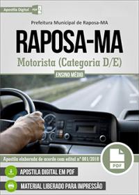 Motorista (Categoria D-E) - Prefeitura de Raposa - MA
