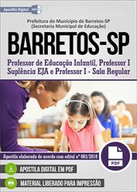 Professor de Educação Infantil e Professor I - Prefeitura de Barretos - SP