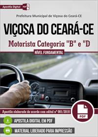 Motorista Categoria B e D - Prefeitura de Viçosa do Ceará - CE