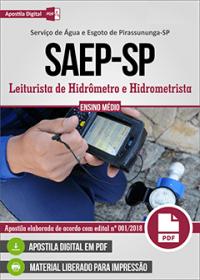 Leiturista de Hidrômetro e Hidrometrista - SAEP - SP