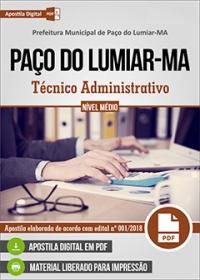 Técnico Administrativo - Prefeitura de Paço do Lumiar - MA