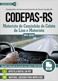 Motorista de Caminhão de Coleta de Lixo e Motorista - CODEPAS-RS