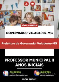 Professor Municipal II - Anos Iniciais - Prefeitura de Governador Valadares-MG