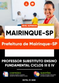 Professor Substituto Ensino Fund. Ciclos III e IV - Prefeitura de Mairinque-SP