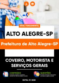 Coveiro, Motorista e Serviços Gerais - Prefeitura de Alto Alegre-SP