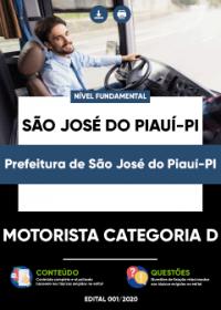 Motorista Categoria D - Prefeitura de São José do Piauí - PI