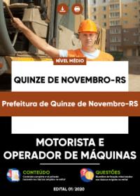 Motorista e Operador de Máquinas - Prefeitura de Quinze de Novembro-RS