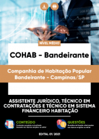 Assistente Jurídico, Téc. em Contratações e Téc. em Sistema Financeiro - COHAB